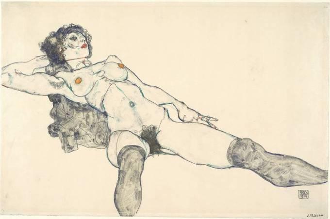 Schiele femme allongée aux jambes écartées