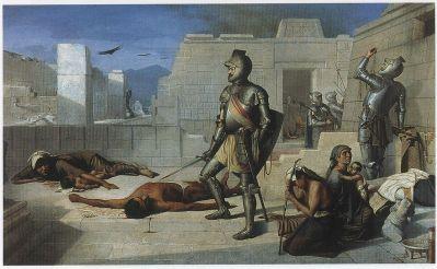 Félix Parra - Episodios de la Conquista: La matanza de Cholula (1877)