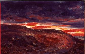 José María Velasco - Le mont du Calvaire (1909)