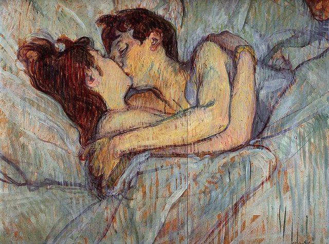 Dans le lit le baiser