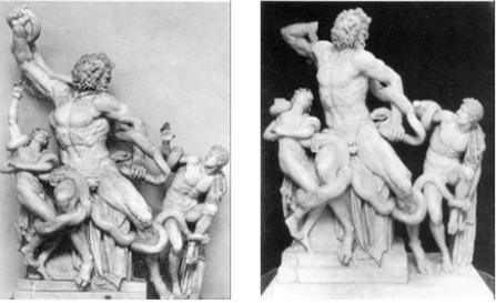 Avant et après restauration du véritable bras droit