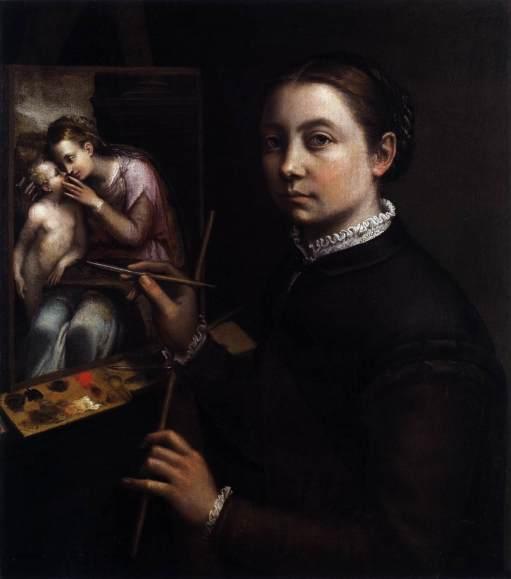 Sofonisba Anguissola - Autoportrait de l'artiste ent train de peindre la Vierge