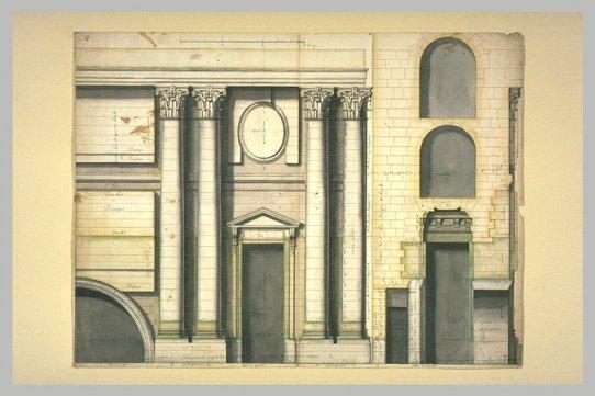 Projet architectural pour le palais du Louvre : élévation et profil du portail de la colonnade du Louvre