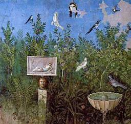 Fresque Le jardin avec thermes et fontaines