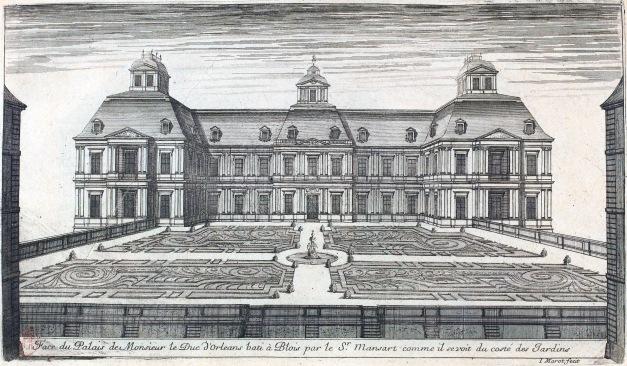 L'Architecture_française_(Marot)_BnF_RES-V-371_061r-f129_Palais_d'Orléans_à_Blois,_Face_du_côté_des_jardins_(adjusted)