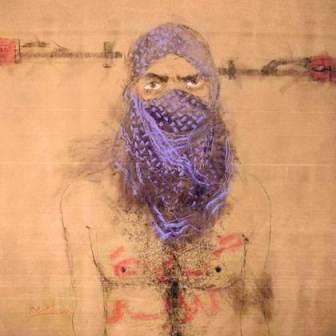 Monif Ajaj, Sans titre, série Mondaseen, 2012, 170*126 cm, craie sanguine, fusain et acrylique sur papier