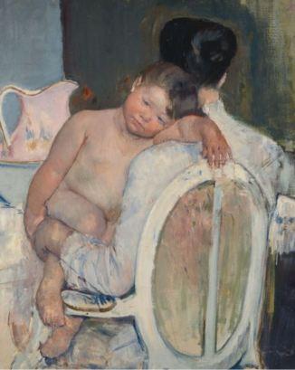 Mary Cassatt, Seated Woman with a Child in Her Arms (Femme assise avec un enfant dans ses bras), vers 1890, huile sur toile, Museo de Bellas Artes de Bilbao, photo © Bilboko Arte Ederren / Museoa-Museo de Bellas Artes de Bilbao