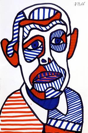 Jean Dubuffet, Autoportrait II, novembre 1966, marker sur papier, 25x16,5cm, fondation Dubuffet, Paris