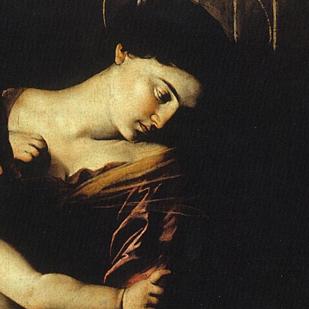 Détail du visage de la Vierge dans la Madone de Lorette, 1606, huile sur toile, église Santo Agostino de Rome