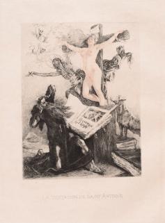 Félicien Rops La Tentation de Saint-Antoine, 1887 Eau-forte sur papier 12 x 8 x 10 cm © Namur, musée Félicien Rops