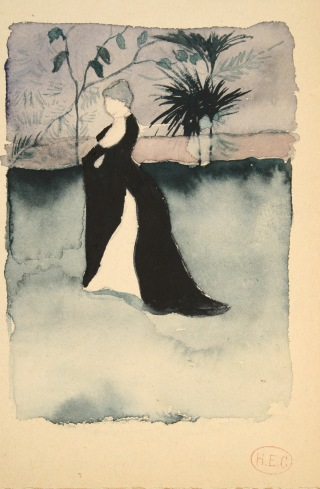 Henri-Edmond Cross Étude pour le portrait de madame Irma Clare (madame Cross) en robe de bal , vers 1891 Aquarelle sur papier, 16 x 10,5 cm Collection Carole Plaussu par l'intermédiaire de la galerie de la Présidence © Galerie de la Présidence