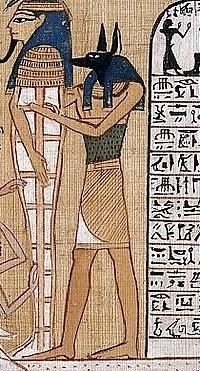 Détail d'Anubis, issu du Livre des Morts d'Hunefer, autour de 1300 av. J.-C, produit à Thèbes et conservé au British Museum (EA 9901 feuillet 5)