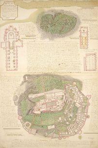 Pierre Jaussaud, Plan du Mont St Michel, 1757, carte manuscrite, encre et lavis, 94 (H) x 62 (L) cm, Paris, Musée des Plans-reliefs, inv. D55 © Musée des Plans-reliefs, Paris