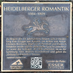 Heidelberger Romantik (1804-1809), plaque commémorative à Mannheim