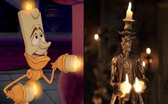 Lumière, La Belle et la Bête, version 1991 et 2017 © Disney