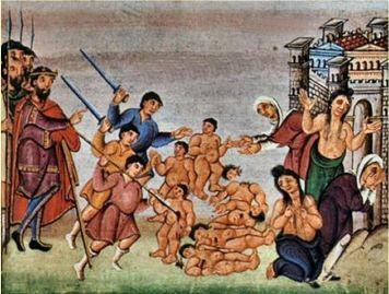 Le massacre des Innocents, Codex d'Egbert, vers 980-993, Trèves, Bibliothèque municipale. @cosmovision.com