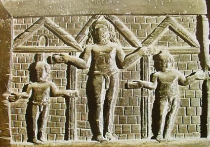Le Christ et les deux larrons, Porte de la basilique Sainte-Sabine, Rome, Ve siècle.