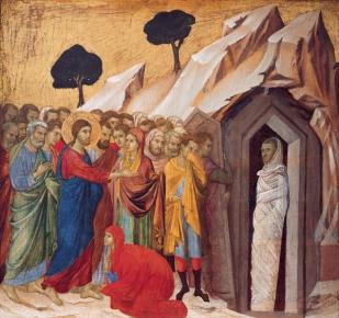 Duccio di Buoninsegna, la résurrection de Lazare, 1308-1311, Kimbel Art Museum de Fort Knox.