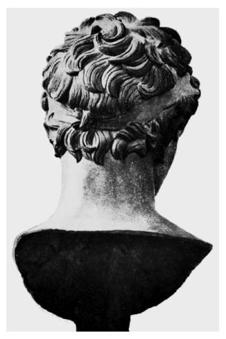 Dos du buste de Juba II, bronze, ht. 47 cm, retrouvé à Volubilis (Maroc) et conservé au musée de Rabat