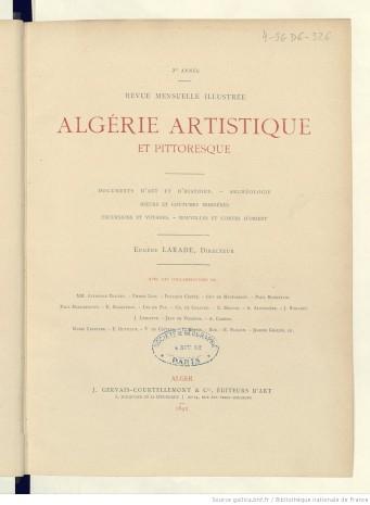 Algérie artistique et pittoresque, 1874, disponible sur Gallica