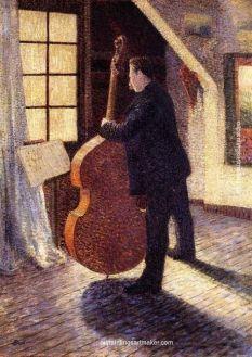 Le Violoncelliste, Louis Hayet, collection départementale du Val d'Oise