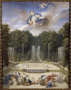 Jean II Cotelle, Le théâtre d'eau, 1688-1693, huile sur toile, conservé au château de Versailles et exposé au Grand Trianon. Crédits : Domaine public