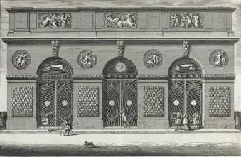 Jean Le Pautre, Vue de la façade extérieure de la grotte de Téthys de Versailles, 1672. Crédits : Domaine public