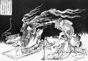 Onryo, estampe d'Hokusai. Wikimedia Commons, domaine public.