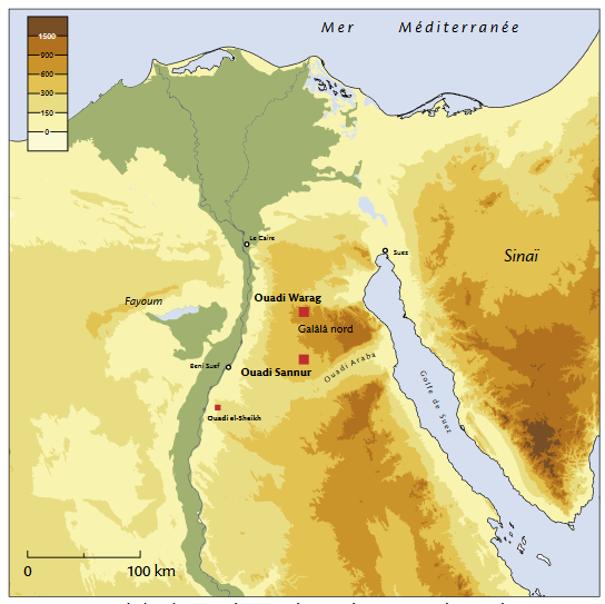 Carte de localisation des sites du Ouadi Sannur et du Ouadi Warag.