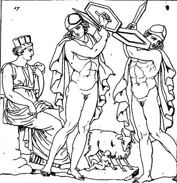 Rhéa,_Amalthée_allaitant_et_la_danse_des_Curètes_dessin_d'un_bas-relief_d'autel_romain