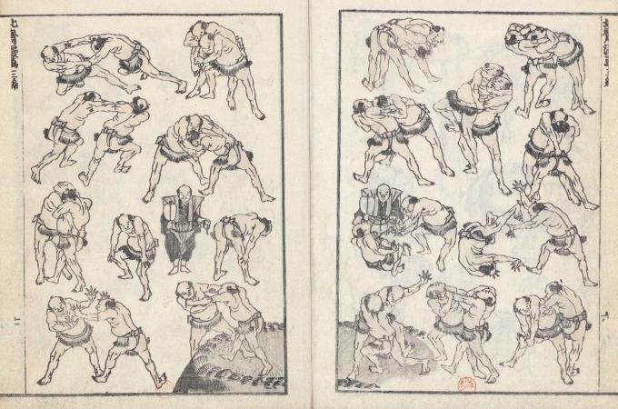 Lutteurs_de_sûmo_Hokusai_Manga