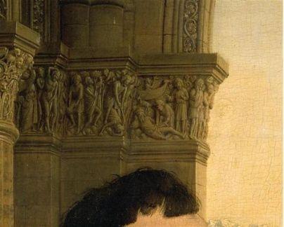 Détails des chapiteaux, scènes de l'Ancien Testament : Adam et Ève chassés du Paradis / Meurtre d'Abel par Caïn / La déchéance de Noé moqué par ses fils
